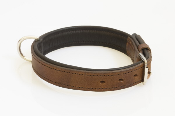 Hondenhalsband nikkelen fournituren extra breed bruin