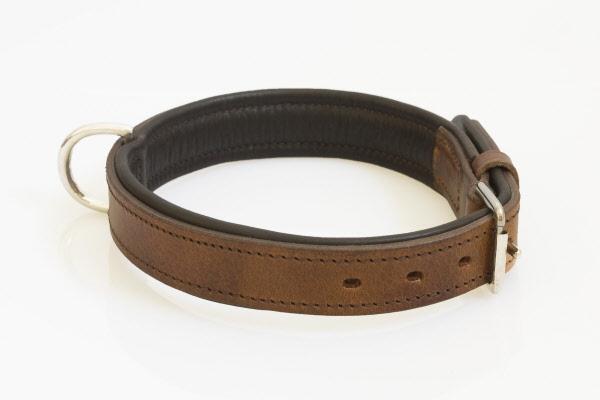 Hondenhalsband nikkelen fournituren extra breed bruin for Www comfort kussen nl