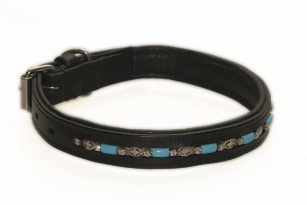 Hondenhalsband versierd met blauwe steentjes zwart for Www comfort kussen nl